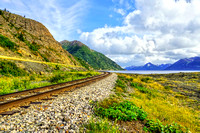 Alaskan Railroad at Beluga Point Along The Seward Highway (Turnagain Arm)