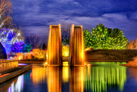 Denver Botanical Gardens - Color Changing Fountain at Night