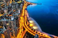 Aerial Lake Shore Drive During Blue Hour - Chicago