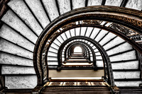 Looking Up the Rookery Building Spiraling Staircase - Chicago