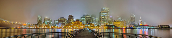 San Francisco Foggy Night Panorama from Pier 14
