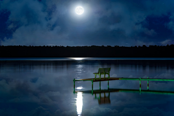 The Moon, a Bench and a Lake