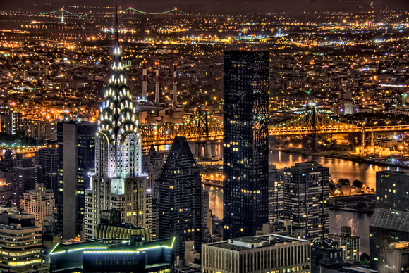 Chrysler Building Aerial at Night - Manhattan