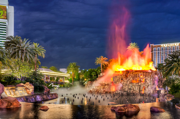 The Mirage Volcano Erupting in Las Vegas at Night