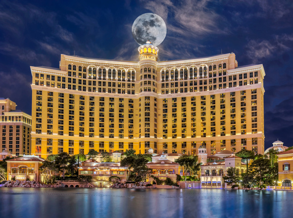 The Moon Over the Bellagio at Night - Las Vegas