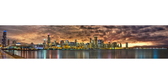 70 Exposures - Massive Chicago Night Skyline Panorama (Near Adler Planetarium)
