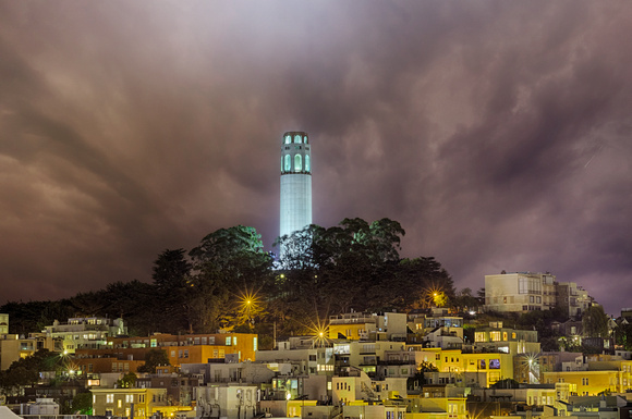 Coit Tower Beacon on a Foggy Night - San Francisco