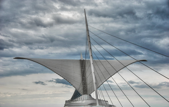 Architectural Wings Open in Milwaukee Over Lake Michigan (Wisconsin)